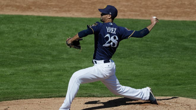 Jorge Lopez, once considered the Brewers' top pitching prospect, pitched three times out of the bullpen at Class AA Biloxi before being recalled by the Brewers to pitch in relief.