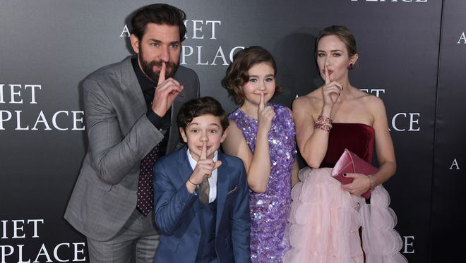 (L-R) John Krasinski, Noah Jupe, Millicent Simmonds and Emily Blunt attend the Paramount Pictures premiere for 'A Quiet Place' at AMC Lincoln Square Theater on April 2, 2018 in New York City.