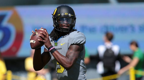 Sep 3, 2016; Eugene, OR, USA;  Oregon Ducks quarterback Terry Wilson Jr. (3) throws the ball before the game against the UC Davis Aggies at Autzen Stadium. Mandatory Credit: Scott Olmos-USA TODAY Sports