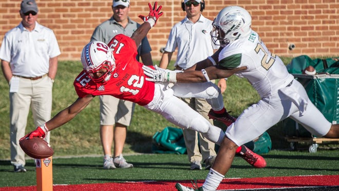 Ball State's Justin Hall scores his first career touchdown as the Cardinals beat UAB 51-31 in the home opener on Sept. 9 at Scheumann Stadium.