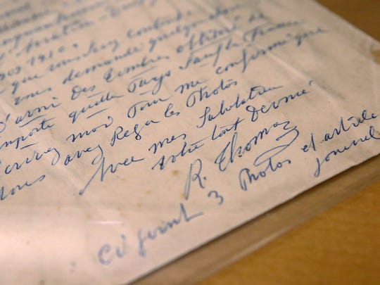 This is a handwritten letter by the 1914 winner, Rene Thomas, from France.