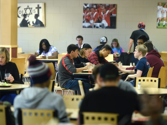 Students gather for lunch Wednesday, Oct. 11, in Garvey