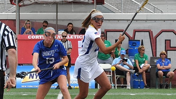 Bronxville's Fiona Jones (l) and Mattituck-Southold's Riley Hoeg pursue ball off the draw.