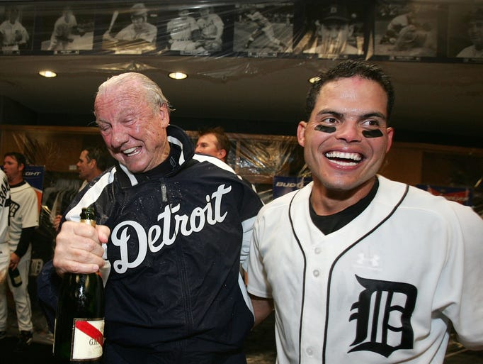 Former Tiger great Al Kaline, left, and catcher Ivan
