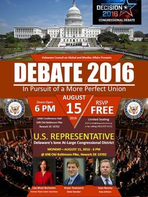 Three contestants for Delaware's sole Congressional seat will debate tonight.