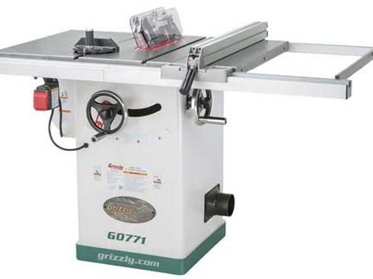 The motor pulley for Grizzly 10-inch hybrid table saws can come loose and hit the table saw blade, causing the blade teeth to break into flying metal fragments, posing a risk of laceration or impact injury to consumers.