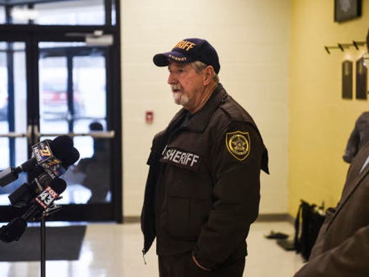 Adams County sheriff Jim Muller speaks to the media Thursday April 8, 2015 after a gunman was shot and apprehended at the Adams County Prison in Straban Township.