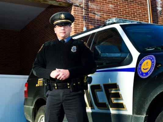 Hanover Police Department Chief Dwayne Smith stands outside the borough offices at the beginning of 2013, soon after he was appointed chief of police. Hanover Borough Council is beginning the transition to a new chief, Smith said at Wednesday's council meeting.