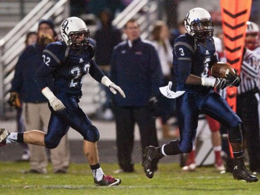Dallastown's Malik Lewis (3) carries the ball along the sideline against Lebanon during Friday's District 3 playoff game vs. Lebanon. (Jeff Lautenberger -- for GameTimePA.com)