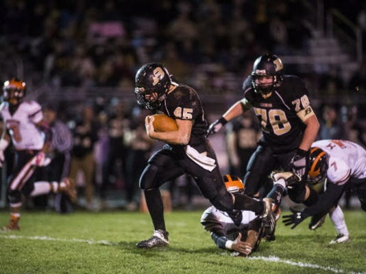 Biglerville's Colton Sentz scored three touchdowns against Hanover in the Canners' regular-season matchup against the Nighthawks.