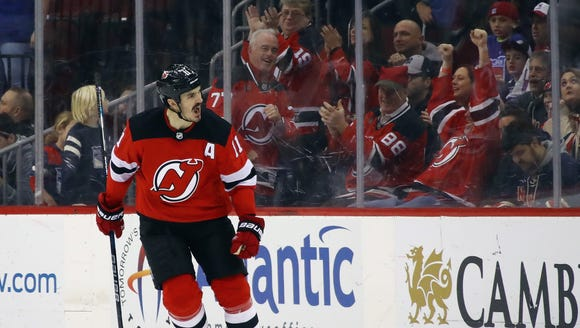 Brian Boyle (11) of the New Jersey Devils celebrates