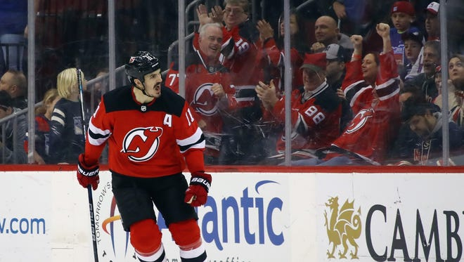 Brian Boyle (11) of the New Jersey Devils celebrates his shootout game winning goal against the New York Rangers at the Prudential Center on December 21, 2017 in Newark, New Jersey. The Devils defeated the Rangers 4-3 in the shootout.