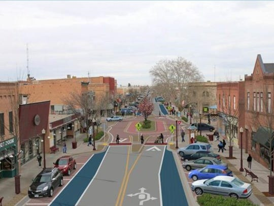A rendering shows what the Main Street could look like after the Complete Streets project is completed.