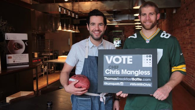 Green Bay chef Chris Mangless has gotten support from the Green Bay Packers, including Jordy Nelson, to earn enough votes to earn a spot in the finals of the Thomas Hometown Breakfast Battle.