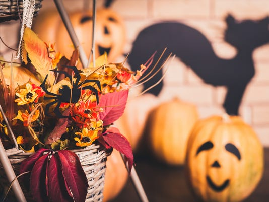 Halloween composition of autumn leaves and flowers