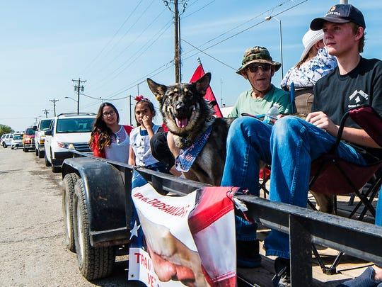 The TADSAW (Train A Dog, Save A Warrior) float passes