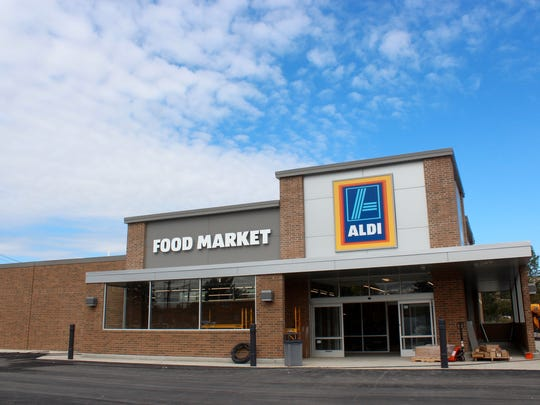 The newly redone ALDI market storefront located at