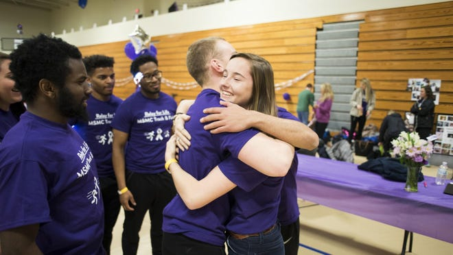 Mount student Amanda Pecorella of Fishkill discussed losing her mother to cancer and how it inspired her to move forward in her academics and her career at the college's Relay for Life event April 8.