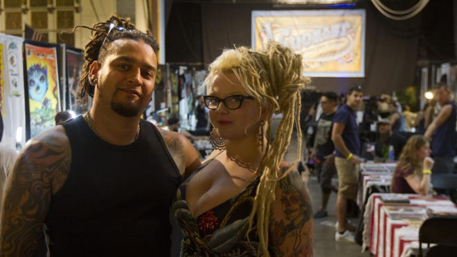 Jon Lane, director of the Visionary Tattoo Arts Festival, and his partner Shannon Moran attend the sixth annual fest at Convention Hall in Asbury Park last year.