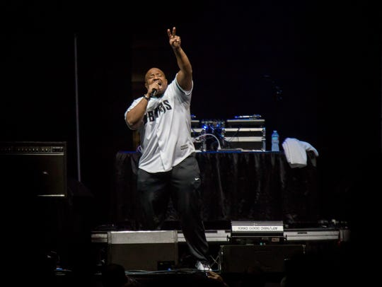 Young MC entertains the crowd during the I Love the