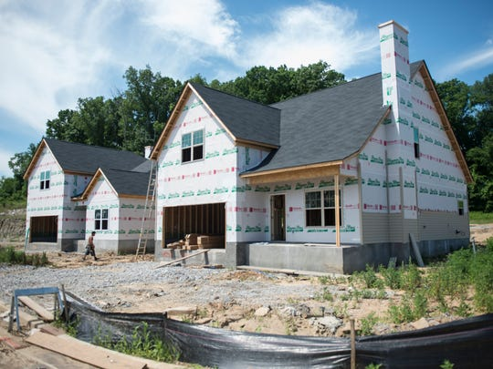 Homes under construction in Heritage Hills, a new subdivision off Lebanon Road in Hermitage.