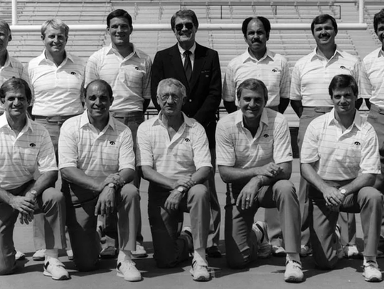 A photo of the 1983 University of Iowa football team's