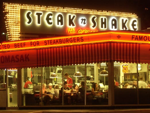 The now historic Steak n' Shake at St. Louis and National bustles with diners on a Saturday night.