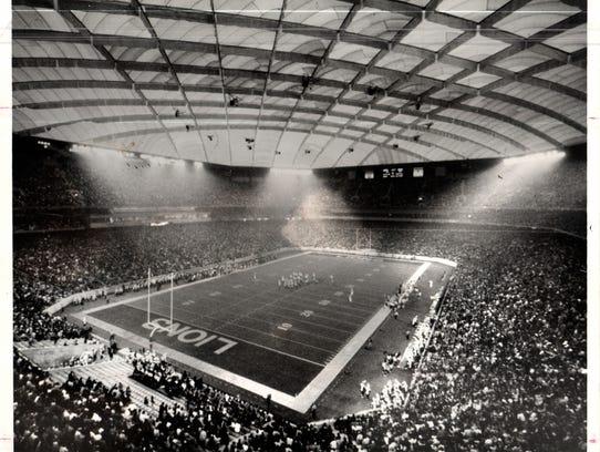 The Pontiac Silverdome stadium in Pontiac, Michigan,