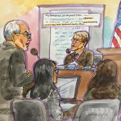 John Doerr on the stand March 4, 2015 in San Francisco Superior court in the gender discrimination trial of Ellen Pao versus venture capital firm Kleiner Perkins