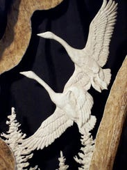 Scott Hayes' swan carving is among the offerings at