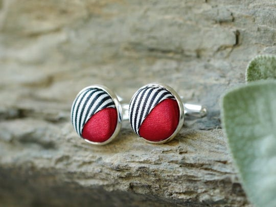 Lynn Esteban creates jewelry from repurposed findings such as these button cufflinks.