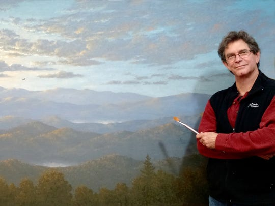 "David Berger and his large-scale work ""The Blue Ridge,"" donated to Unity of the Blue Ridge."