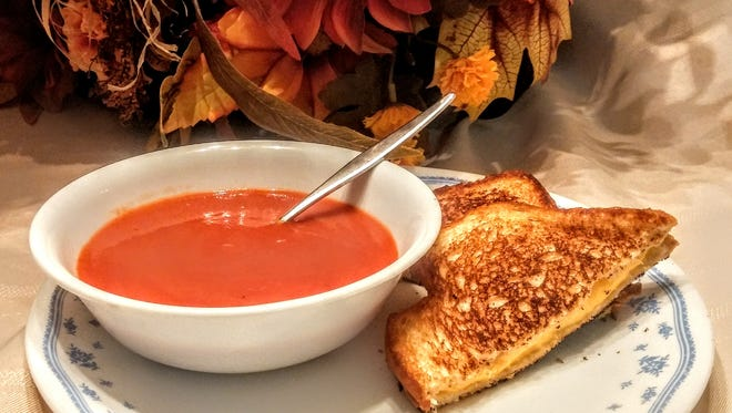 Tomato soup and grilled cheese sandwich.