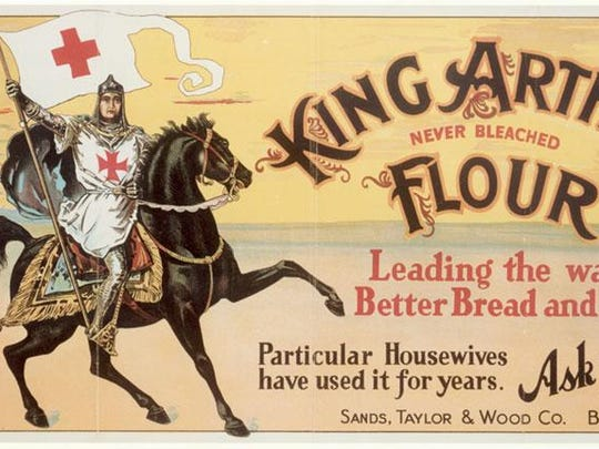 The artwork was created in 1896 to announce that Sands, Taylor & Wood Company would be selling King Arthur Flour. It was used in all of the company's advertising and became extremely recognizable. The company's official name was not changed to King Arthur Flour Company until more than 100 years later in 1999.