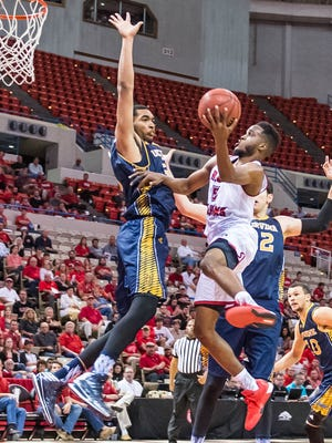 UL guard Kasey Shepherd (5) goes up for a lefthanded layup in traffic during the Cajuns' 67-66 loss to UC Irvine on Wednesday at the Cajundome.