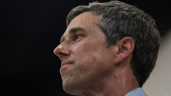 The Texas Democratic candidate for Senate, Rep. Beto O'Rourke, speaks at a town hall stop at the Valencia on Wednesday, Aug. 8, 2018.