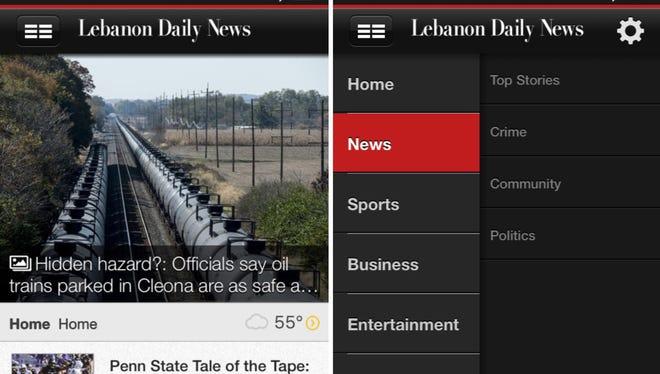 Screenshots of the new Lebanon Daily News app.
