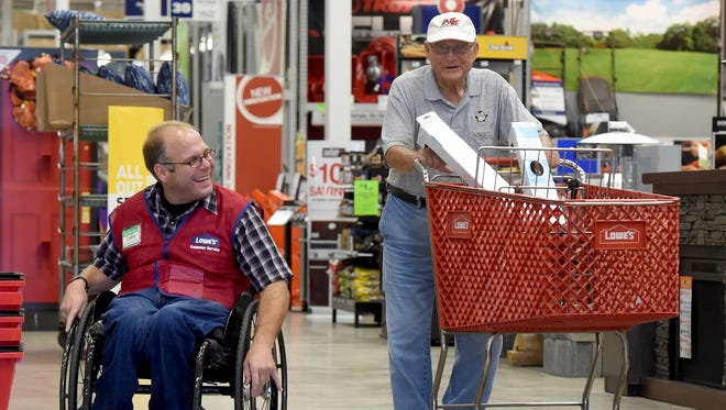 """Oh, he's a good fella,"" said Wilbur Henry of Springettsbury Township, after Lowe's greeter Chris Veseth made sure Henry had everything he needed during his recent visit to the store."