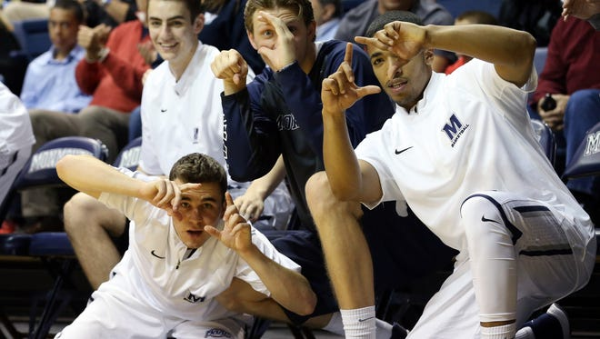 The Monmouth Bench Mob in action during a game against Wagner last season at OceanFirst Bank Center in West Long Branch.