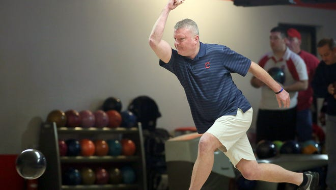 Bill Andrews practices Thursday at Redskin Lanes & Pizza Pub in Utica. Andrews bowled an 855 series during Thursday Business League action on Dec. 1.