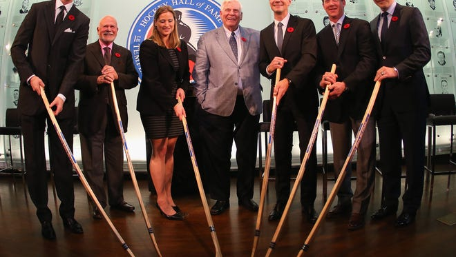 Chris Pronger, Peter Karmanos, Angela Ruggiero, Bill Hay, Nicklas Lidstrom, Phil Housley and Sergei Fedorov will enter the Hockey Hall of Fame on Monday.