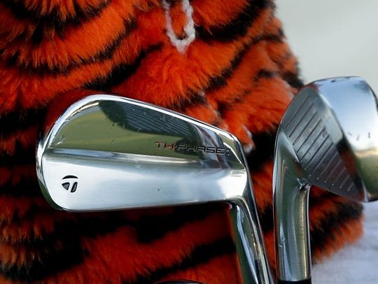 A detailed view of the clubs used by Tiger Woods during