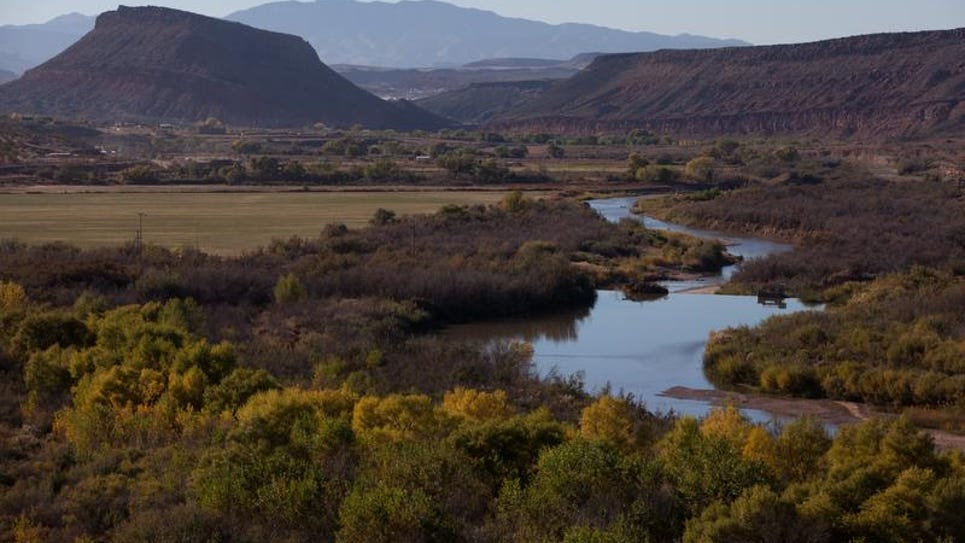 The Virgin River flows westward toward St. George along the Washington Dam Road between Washington City and Hurricane. State managers say the drought in southwestern Utah is enough to make a case for tapping into the Colorado River by building the 140-mile Lake Powell Pipeline.