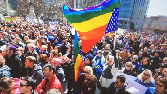 Several thousand demonstrators gathered in Downtown Indianapolis on Saturday, March 28, 2015, to protest the passage this week in the Indiana legislature of the Religious Freedom Restoration Act.