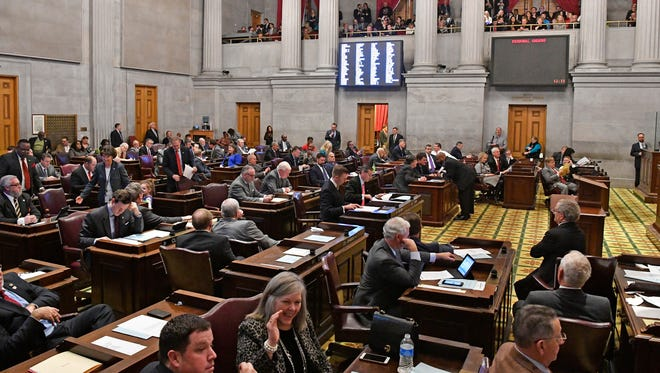 Members listen from their desks during the first sessions of the 2018 Tennessee General AssemblyTuesday Jan. 9, 2018, in Nashville, Tenn