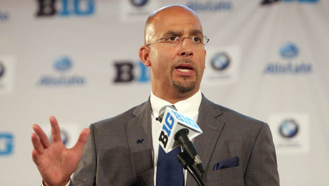 Jul 28, 2014; Chicago, IL, USA; Penn State Nittany Lions head coach James Franklin addresses the media during the Big Ten football media day at Hilton Chicago. Mandatory Credit: Jerry Lai-USA TODAY Sports
