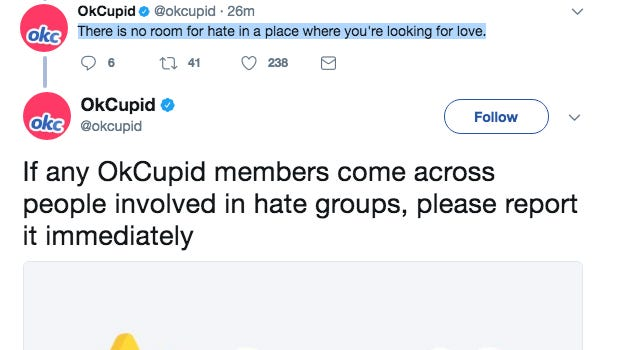 OKCupid has banned white nationalist Christopher Cantwell from the dating service.