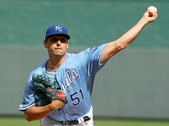 FILE- In this Oct. 1, 2017, file photo, Kansas City Royals starting pitcher Jason Vargas throws during the first inning of a baseball game against the Arizona Diamondbacks in Kansas City, Mo. A person familiar with the deal said Friday, Feb. 16, 2018, that Vargas and the New York Mets have agreed to a $16 million, two-year contract, adding depth to a New York rotation that's been riddled by injuries the past two seasons.