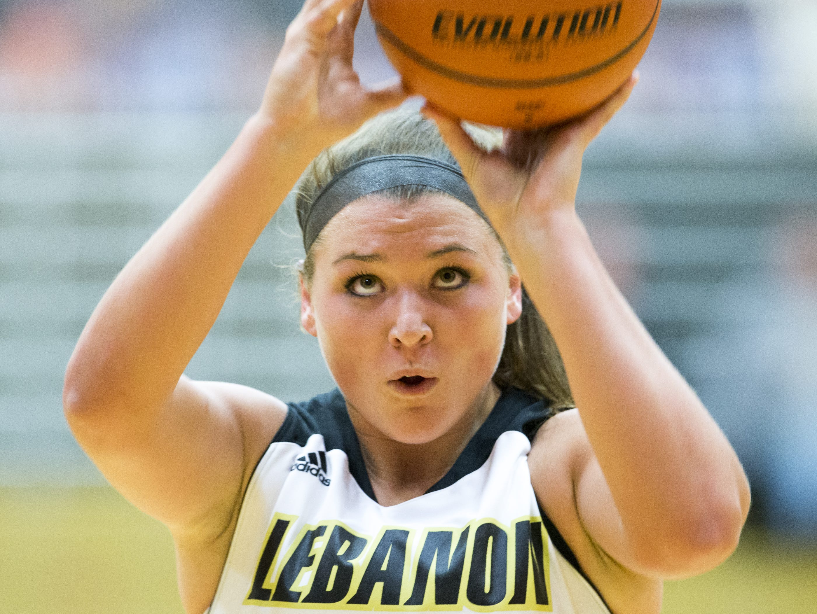 Kristen Spolyar shoots as she and her Lebanon High School team plays Hamilton Heights, Lebanon, Monday, Nov. 30, 2015. Spolyar, who has scored more than 2,000 points in her high school career, finished with 45 this game.