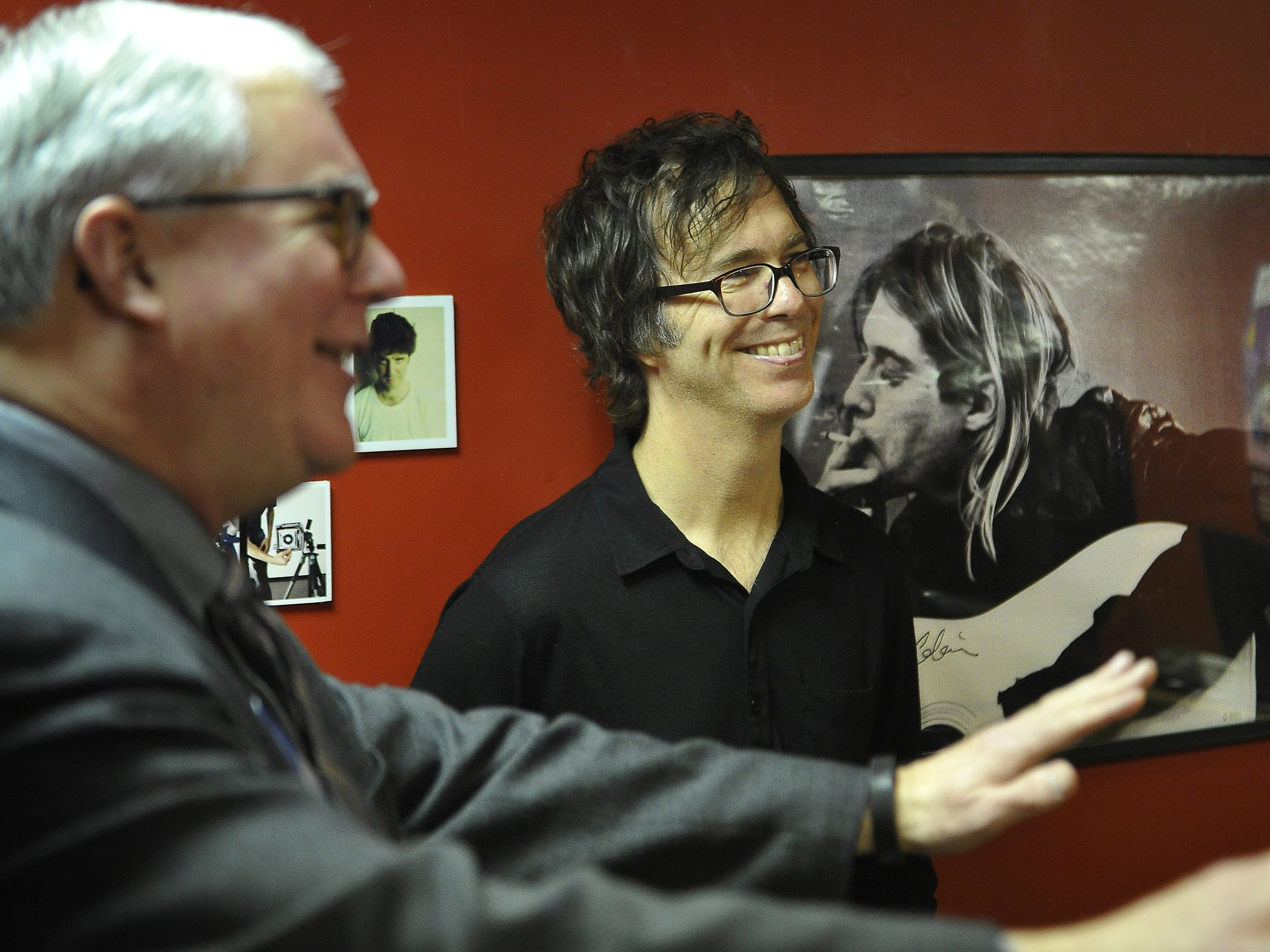 Ben Folds, center, is all smiles as he jokes with David